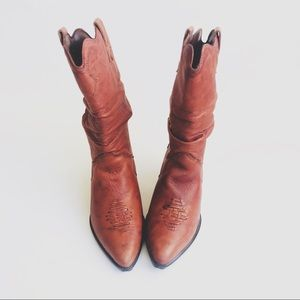 Vintage Zodiac Brown Leather Slouchy Cowboy Boots